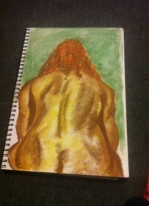 My 2nd attempt tried pastels - more ended up on me than the page - and my model transformed from anorexic to clinically obese