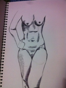 She didn't have a stoma bag - almost drew one on - but here it is my last attempt, in this one (a study in pen) she lost her head (Ann Boleyn style)